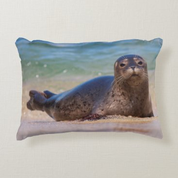 Beach Themed Baby Harbor Seal in Water Accent Pillow