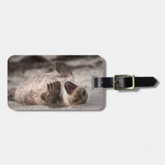 Baby Harbor Seal Yawning Bag Tag