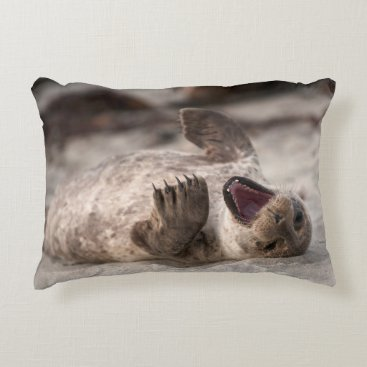 Beach Themed Baby Harbor Seal Yawning Decorative Pillow