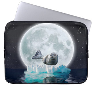 Baby Harbour Seal on an Ice Floe and Full Moon Computer Sleeve