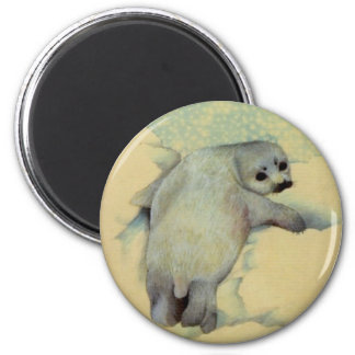 Baby Harp Seal 2 Inch Round Magnet