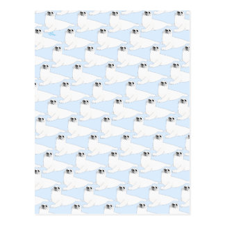 Baby Harp Seal Pattern on blue Postcard