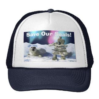 Baby Harpseal & Inukshuk Wildlife Supporter Cap Mesh Hats
