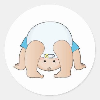 Baby Head Boy Classic Round Sticker