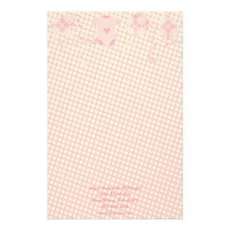 Baby Heart Rattle Argyle Onsie Pink Tiny Dots Stationery