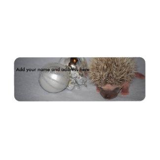 Baby Hedgehog Christmas Ornament Address Labels