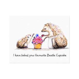 Baby Hedgehog with beetle Birthday cake Canvas Print