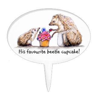 baby hedgehog with creepy crawly cupcake cake topper
