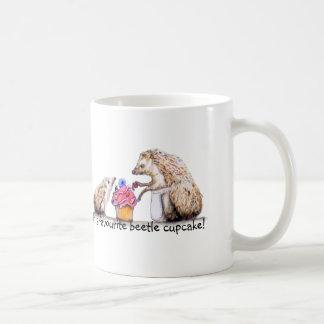 baby hedgehog with creepy crawly cupcake coffee mug