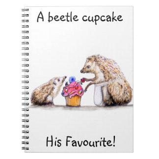 baby hedgehog with creepy crawly cupcake notebook