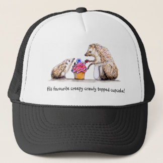 baby hedgehog with creepy crawly cupcake trucker hat