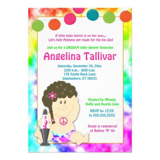 Personalized hippie invitations custominvitations4u baby hippie 60s 70s groovy baby shower girl custom invites filmwisefo