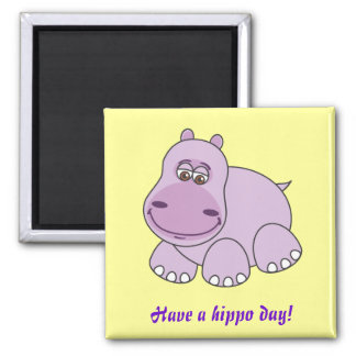 Baby Hippo 2 Inch Square Magnet