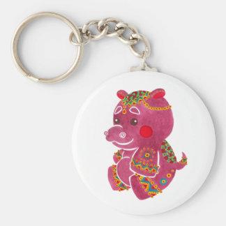 Baby Hippo Basic Round Button Keychain