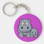 Baby Hippo Family, Cute Wild Safari Basic Round Button Keychain