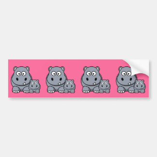 Baby Hippo Family, Cute Wild Safari Bumper Sticker