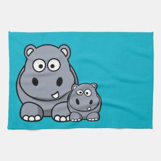 Baby Hippo Family, Cute Wild Safari Kitchen Towel