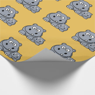 Baby Hippo Family, Cute Wild Safari Wrapping Paper