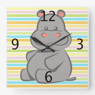Baby Hippo Square Wall Clock