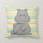 Baby Hippo Throw Pillow