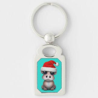 Baby Hippo Wearing a Santa Hat Keychain