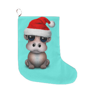 Baby Hippo Wearing a Santa Hat Large Christmas Stocking