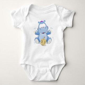 Baby Hippo with Dreidel Baby Bodysuit