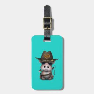 Baby Hippo Zombie Hunter Luggage Tag