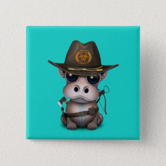 Baby Hippo Zombie Hunter Pinback Button