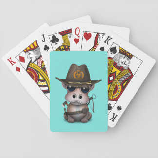 Baby Hippo Zombie Hunter Playing Cards