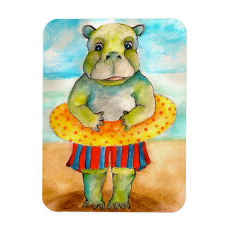 Baby Hippo's Holiday-Original Art by SQ Streater Rectangular Photo Magnet