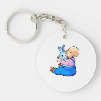 baby holding bunny sitting.png keychain