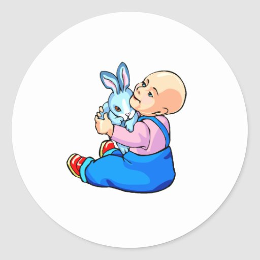 baby holding bunny sitting.png round sticker