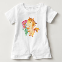 Baby Horse and Flowers Baby Romper