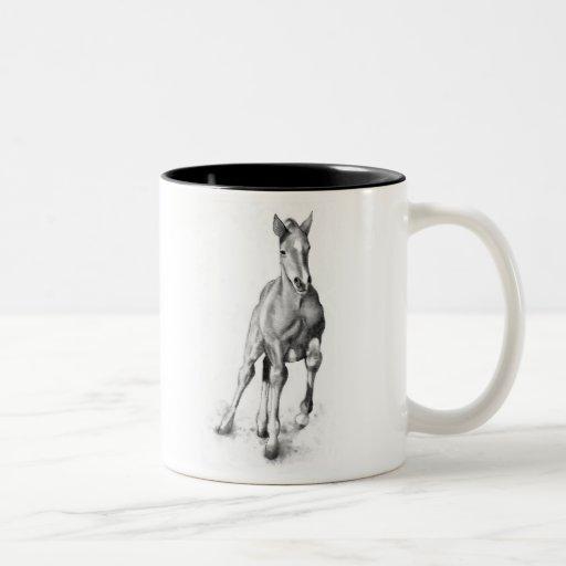 Baby Horse, Colt Running: Pencil Art Coffee Mug