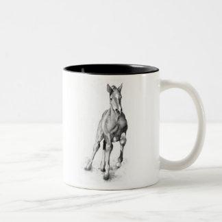 Baby Horse, Colt Running: Pencil Art Two-Tone Coffee Mug