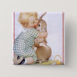 Baby hugging Easter Bunny Button