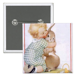 Baby hugging Easter Bunny 2 Inch Square Button