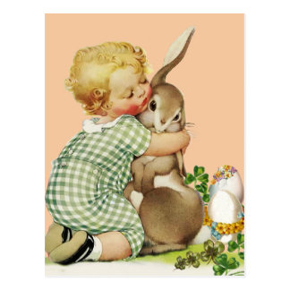 BABY HUGGING EASTER BUNNY,Pink Postcard
