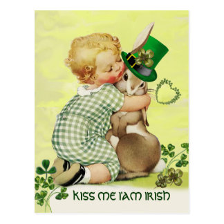 BABY HUGGING RABBIT  Irish St.Patrick's Day Postcard