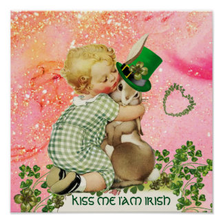BABY HUGGING RABBIT St.Patrick's Day,Pink Floral Poster