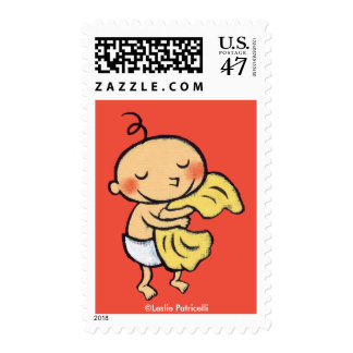 Baby Hugging Soft Yellow Blanket Postage Stamp