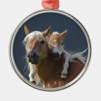Baby Hugs Round Metal Christmas Ornament