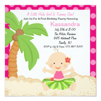 "Baby Hula Girl  First Birthday Invitation 5.25"" Square Invitation Card"