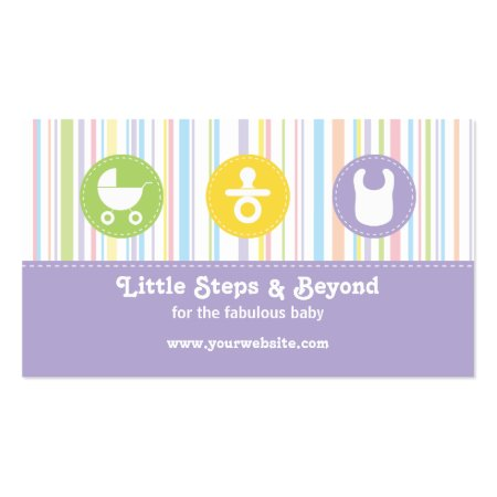 Baby Pram, Pacifier and Bib Colorful Pastel Stripes on Purple Baby Store Profile Cards