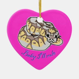"""Baby I'll Rule"" Royal Python Snake Ceramic Ornament"