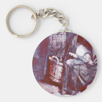 Baby in a Cradle Keychain
