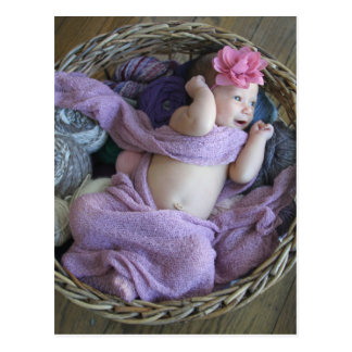 Baby in a Knit Basket Postcard