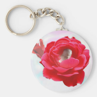 Baby in a Rose Keychain
