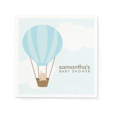 heartlocked Baby in Blue Hot Air Balloon Baby Shower Napkin